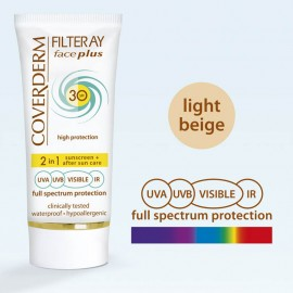 Coverderm Filteray Face Plus 2 in 1 Tinted Light Beige Oily/Acneic Skin SPF30 50ml