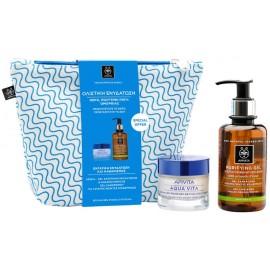 Apivita Set Aqua Vita Κρέμα Προσώπου & Purifying Gel Καθαρισμού Πρόπολη/Lime & Νεσεσέρ