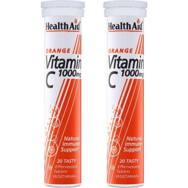 Health Aid PROMO PACK 1+1 ΔΩΡΟ Vitamin C 1000mg Πορτοκάλι 20+20 αναβράζοντα δισκία