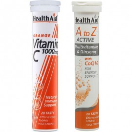Health Aid PROMO PACK 1+1 ΔΩΡΟ A to Z Active Multi+Q10, 20 αναβρ. δισκ. + Vitamin C 1000mg Πορτοκάλι 20 αναβρ. δισκ.