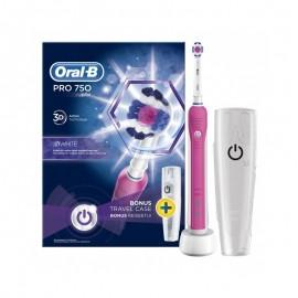 Oral-B Pro 750 3D White Pink Colour & Bonus Travel Case