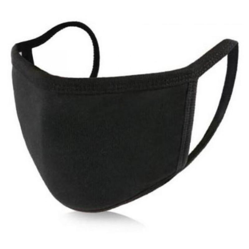 Μάσκα Προσώπου Πολλαπλών Χρήσεων Υφασμάτινη 100% Βαμβάκι Μαύρη 1τμχ