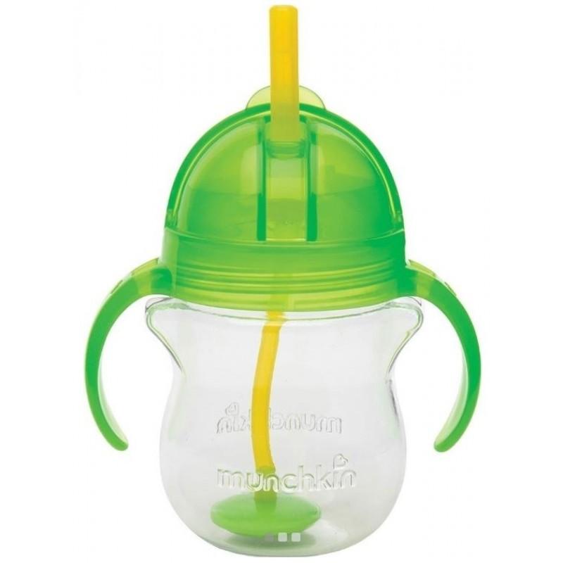 Munchkin Tip & Sip Straw Cup Ποτήρι με Καλαμάκι 6m+, Πράσινο, 207ml