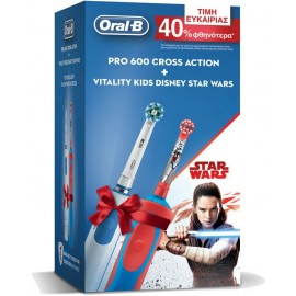 Oral-B Pro 600 Cross Action + Vitality Kids Star Wars
