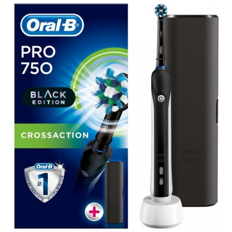 Oral-B Pro 750 All Black Edition with Travel Case