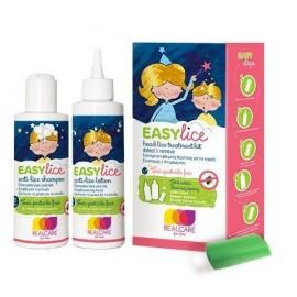 Real Care Easy Lice Kit Σύστημα Αντιφθειρικής Θεραπείας - Λοσιόν (125ml) + Σαμπουάν (125ml) + Χτένι για τις Κόνιδες